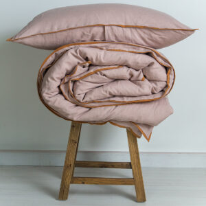 M-Home_Linen_Quilt_Cover_Pillowcase_Woodrose_with_Cinnamon_Trim